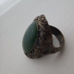 Green Chalcedony Brass Antique Costume Ring.